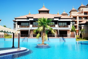 The luxury villas in Thai style hotel on Palm Jumeirah man-made